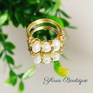 Freshwater pearl wrap ring